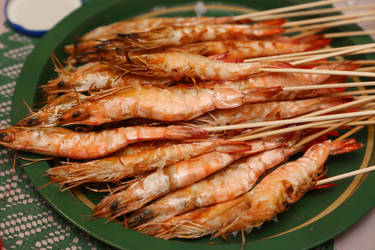 Barbecued prawns by patchow