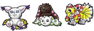 Digimon Plushies by SambaNeko