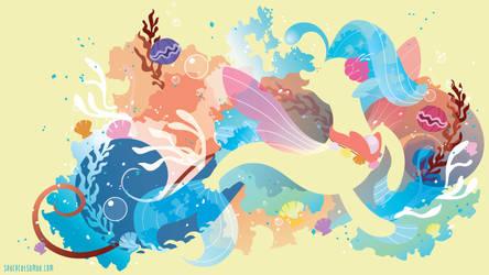 Princess Skystar Seapony Silhouette Wall by SambaNeko