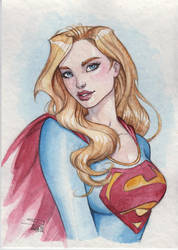 Supergirl watercolor by Sabinerich