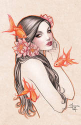 Gold Fish Girl by Sabinerich