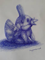 One colored pen challenge - Mudkip by Rayquazanera