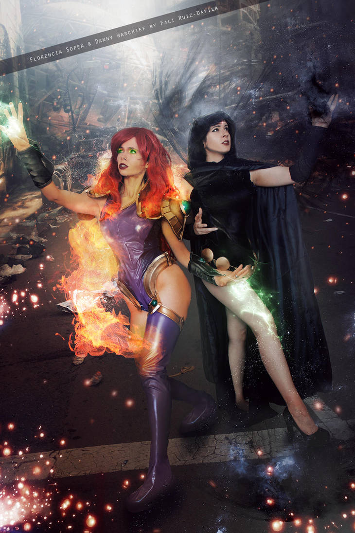 Starfire and Raven - Teen Titans - DC Comics by FioreSofen
