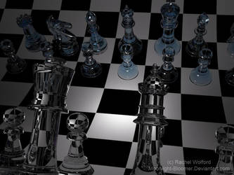 3D Glass Chess Set by Moonlight-Bloomer