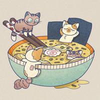 Ramen Mini Cats by asmithart