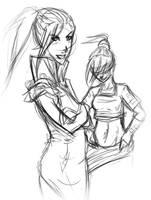 Azula and Toph sketchy by kitsuK8