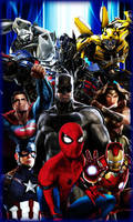 Wallpaper with Marvel/DC/Transformers by DOMREP1