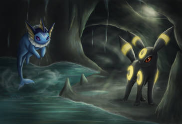 Umbreon and Vaporeon by Cinnamon-Quails