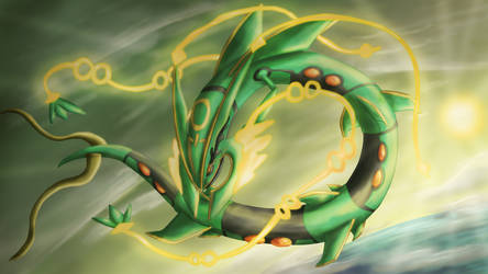 Mega Rayquaza by Cinnamon-Quails