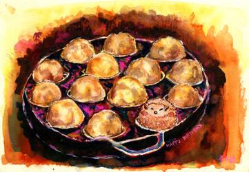 Takoyaki and Hedgehog by starz300