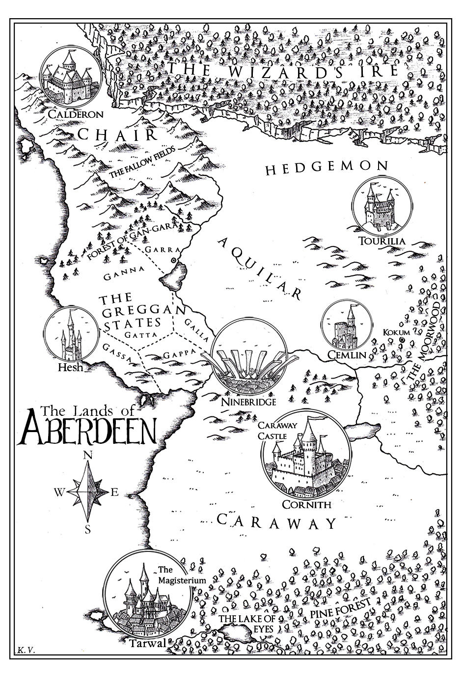 Aberdeen - fantasy map commission 2015 by Traditionalmaps