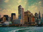 The City of Manhattan under a sunset (futurist ?) by Ludo61