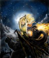 Glorfindel battles the Balrog by annamare