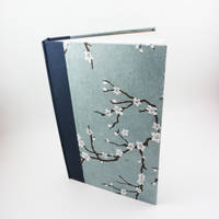 Handmade Blue Hardcover Cherry Blossom Sketchbook by HappyImpressions