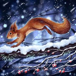 Snowy Squirrel by Kanizo