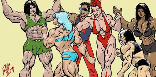 Musclegirl mayhem by LymanDally