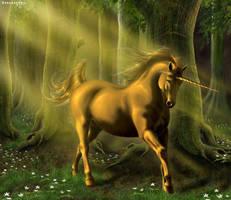 Golden Unicorn by The-DragonSnail