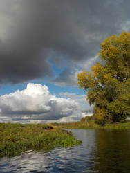 Clouds above the river Niers by langeboom