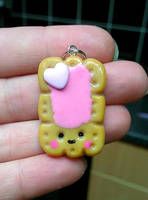 polymer clay kawaii biscuit pink icing charm by kellykim1982