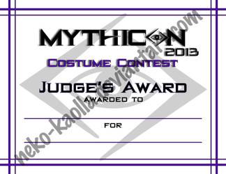 Mythicon 2013 Costume Contest Judge Award by Neko-Kaolla