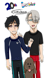 .:20th Birthday:. Viktuuri + Makkachin by xCrypticDreams
