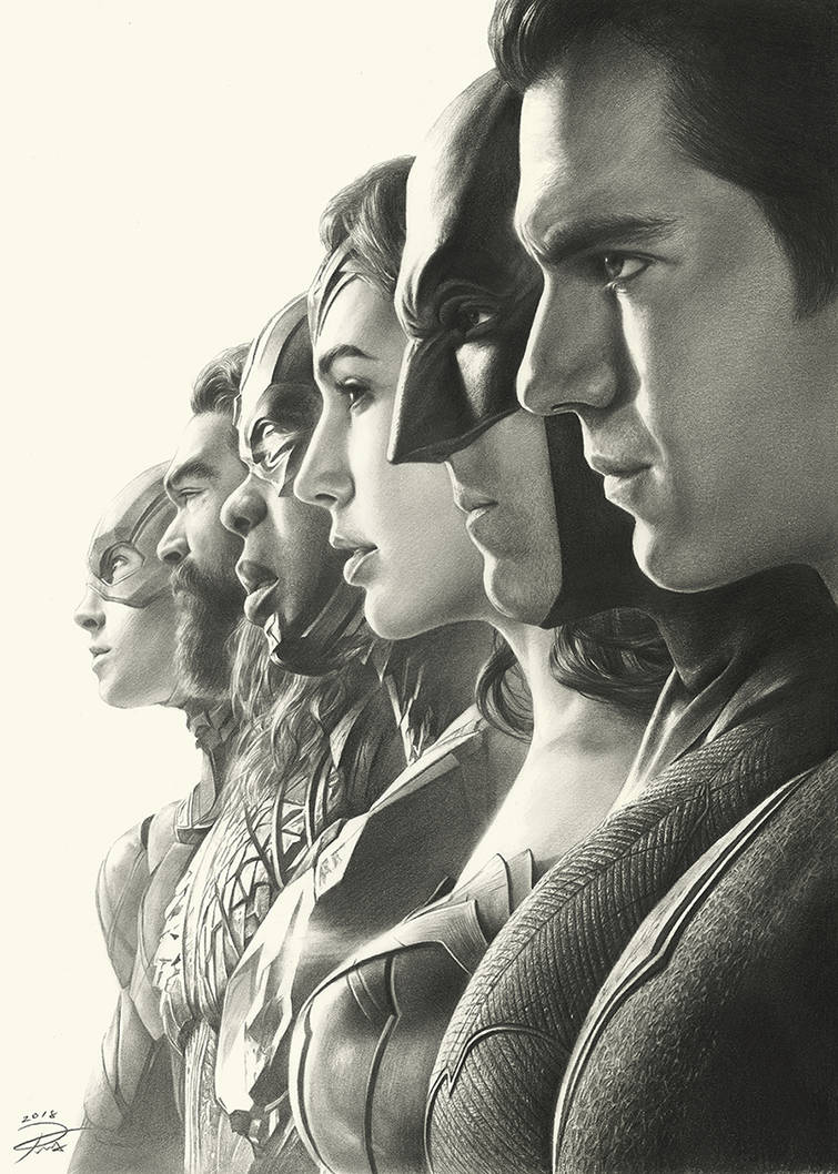 Justice League Pencil Art by yinyuming