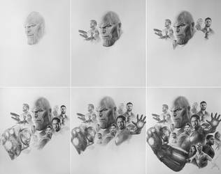 Avengers Infinity War Pencil Art working process by yinyuming