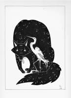 Wolf and crane by Harumirun