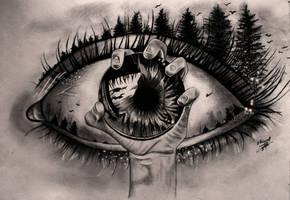 Surreal Eye Drawing by Elrioviel-Art
