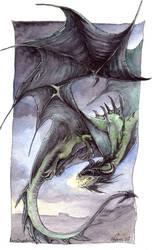 Green Dragon in Flight by drakhenliche