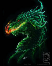 Green Dragon Head by drakhenliche