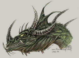 Green Dragon Head by drakhenliche