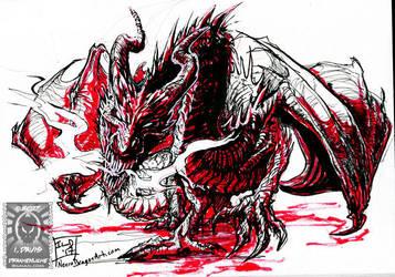Inktober17 - Raging Dragon by drakhenliche