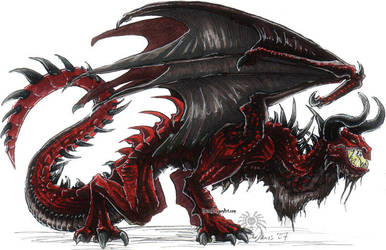red dragon. markers by drakhenliche