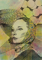 Lady with scarf, watercolor style by sinmigo
