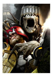 digital painting of judge dredd v death by ryanbrown-colour