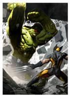 hulk vs wolverine by ryanbrown-colour