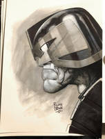 Dredd pencil and ink Sketch by ryanbrown-colour