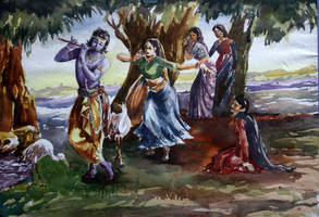 Krishna and Radha by sajal180by2
