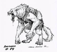 Werewolf - Inktober 14 2017 by BrokenMachine86