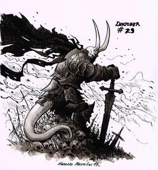 Demon warrior - Inktober 23 2017 by BrokenMachine86