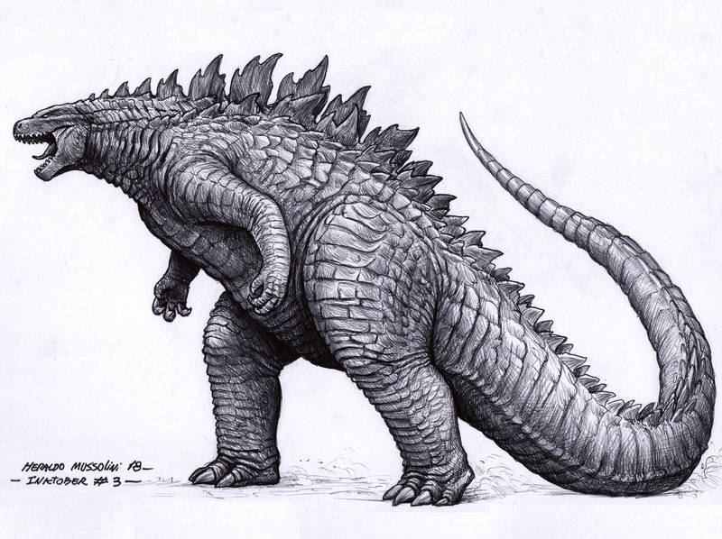 Godzilla - Inktober 03/2018 by BrokenMachine86