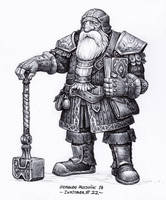 Dwarf cleric - Inktober 22/2018 by BrokenMachine86