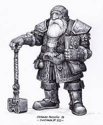 Dwarf cleric - Inktober 22/2018 by BrokenMachine86