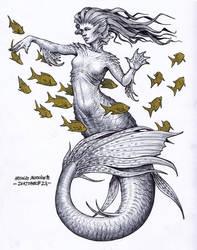Mermaid - Inktober 23/2018 by BrokenMachine86