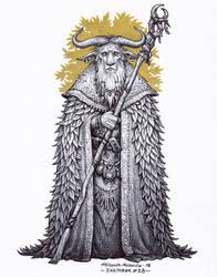 Minotaur druid - Inktober 28/2018 by BrokenMachine86