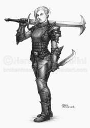 Female warrior by BrokenMachine86
