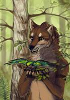 wolf and birdy by Folkwe