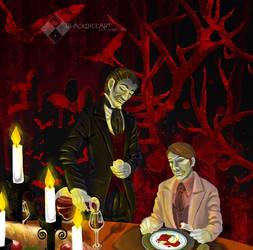 Devils' Dinner v.3 Darker Background by BlackDiceArt
