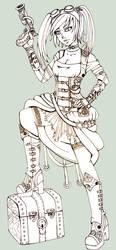 Steampunk Pirate - My Treasure-  Lineart by Lexou-chan